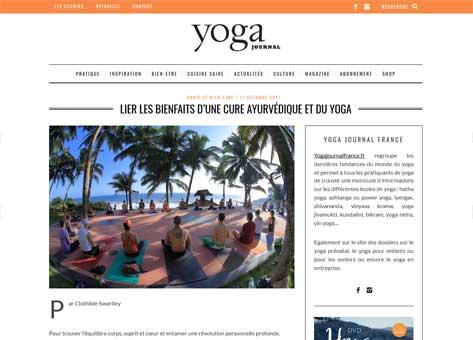 Article de Clotilde Swartley dans le Yoga Journal